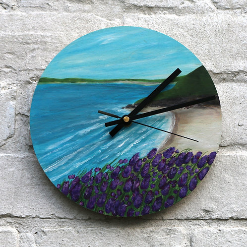 Hand Painted Lavender Beach Clock