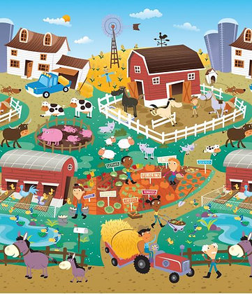 PRINCE LIONHEART Mega-Spielmatte2-seitig City/Farm