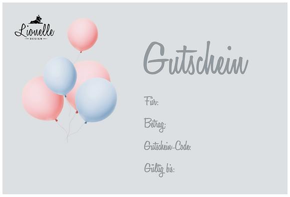 "Geschenkgutschein ""Ballon rosa/blau"""