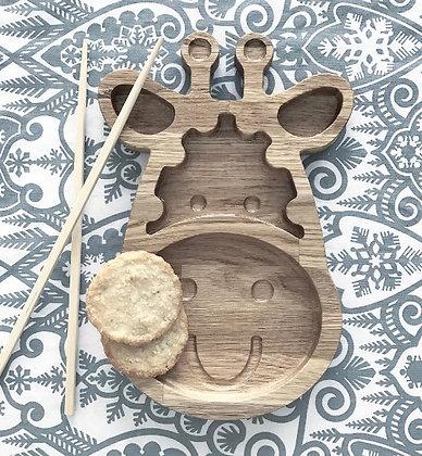 PIXISTUFF Snackteller Giraffe aus Holz