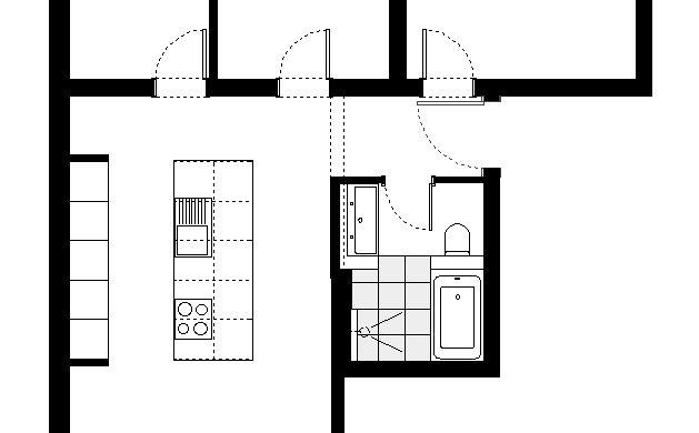 Grundrissauschnitt Bad & Küche