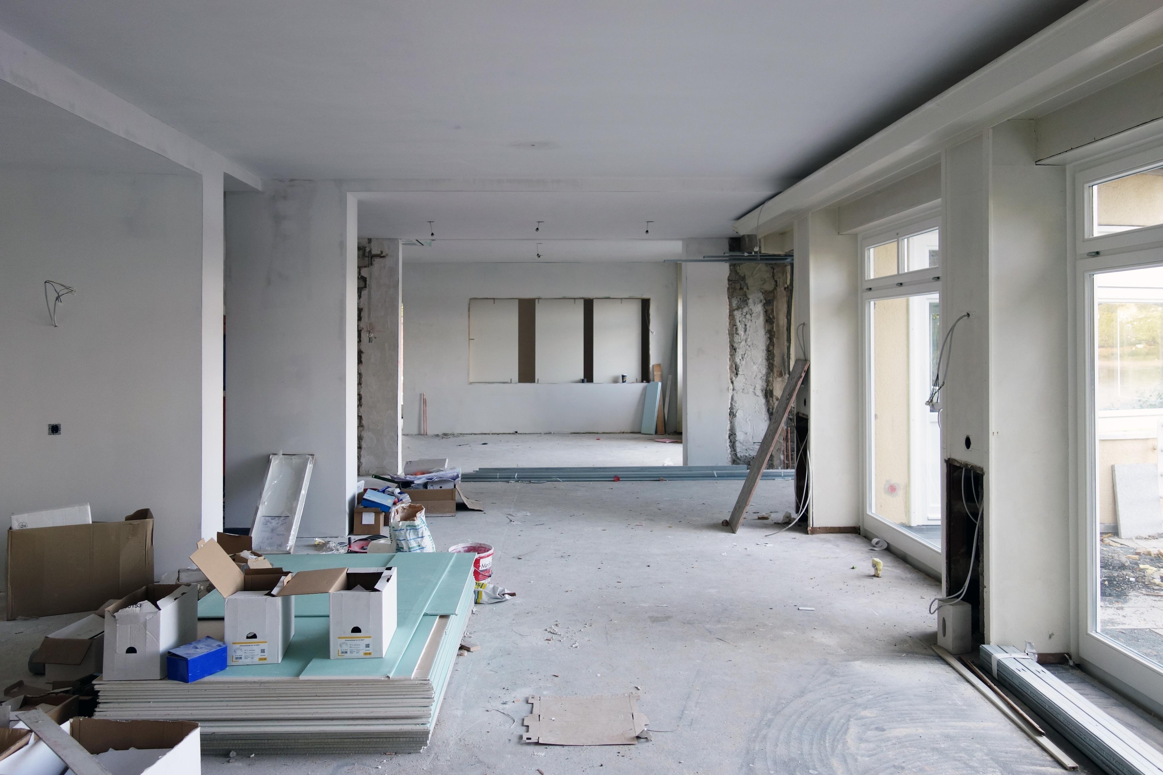 Baustelle Blick Treppenvitrine