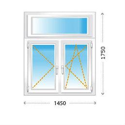 Двухстворчатое окно ПВХ с фрамугой