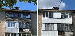 Остекление балконов с наружной обшивкой в Красноярске. Фото ДО и ПОСЛЕ