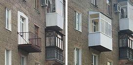 Остекление балкона с обшивкой и установкой крыши в сталинке в Краснояске