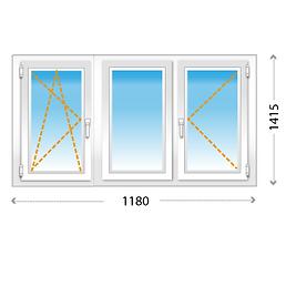 3-створчатое окно ПВХ для зала, гостиной