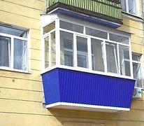 """Остекление балкона в """"сталике"""" в Красноярске. Расширение в 3 стороны"""