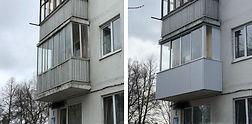 AL остекление балкона с наружной отделкой в Красноярске. Фото ДО и ПОСЛЕ