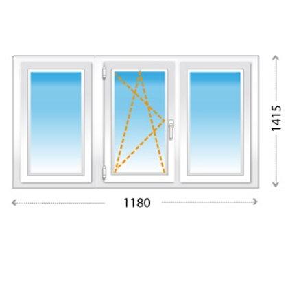 3-створчатое окно ПВХ с поворотно-откидной створкой