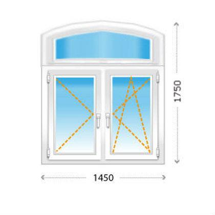 Двухстворчатое окно ПВХ арочное