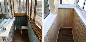 Остекление балкона с внутренней отделкой в Красноярске. Фото до и после