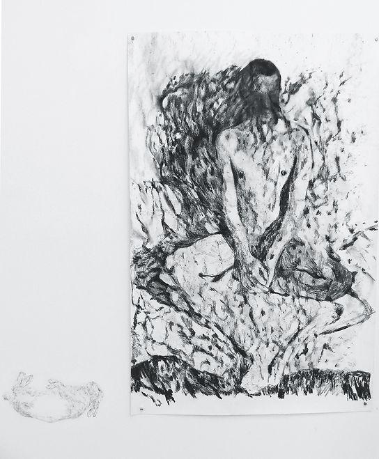 Jonas, fusain sur papier 80x130 cm