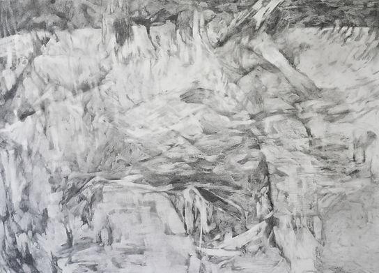 Rêves fluides, graphite sur papier 75x106 cm