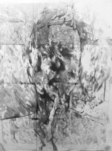 Autoportrait, graphite sur papier 90x120 cm