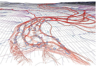 Borderfield, visualization of waterflow and landform change