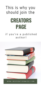 "alt=""stacked books pin for creators page on inspiration wise"""