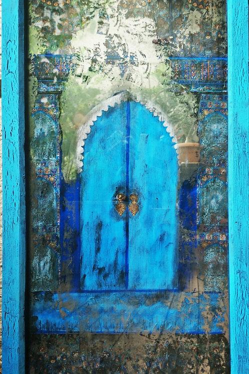 Mirror Effect Glass Paintings : Blue Moroccan Door