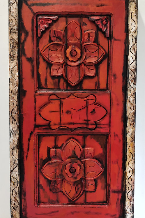 Handcrafted Window : Red Flower