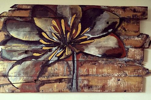 Rustic Flower On Sleeper Wood Panels