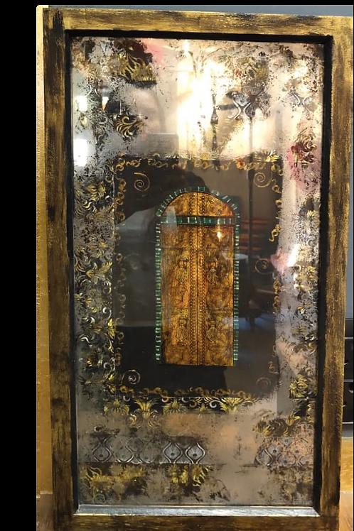 Mirror Effect Glass Paintings : Yellow Moroccan Door