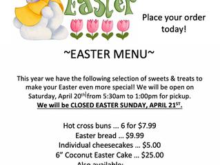 Easter 2019 Menu