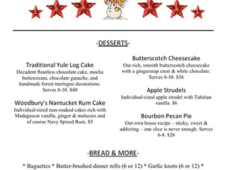 Holiday Dessert Menu