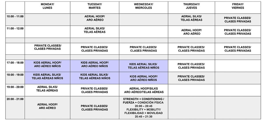 Kids Timetable Nov 2019