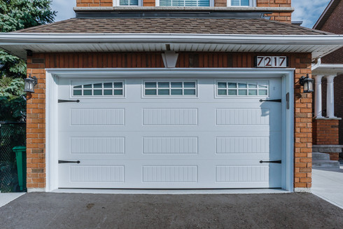 Carriage house ; long panel White Insulated frosted windows 3pc Arched Stockton inserts 14' x 7'  Upgraded hardware