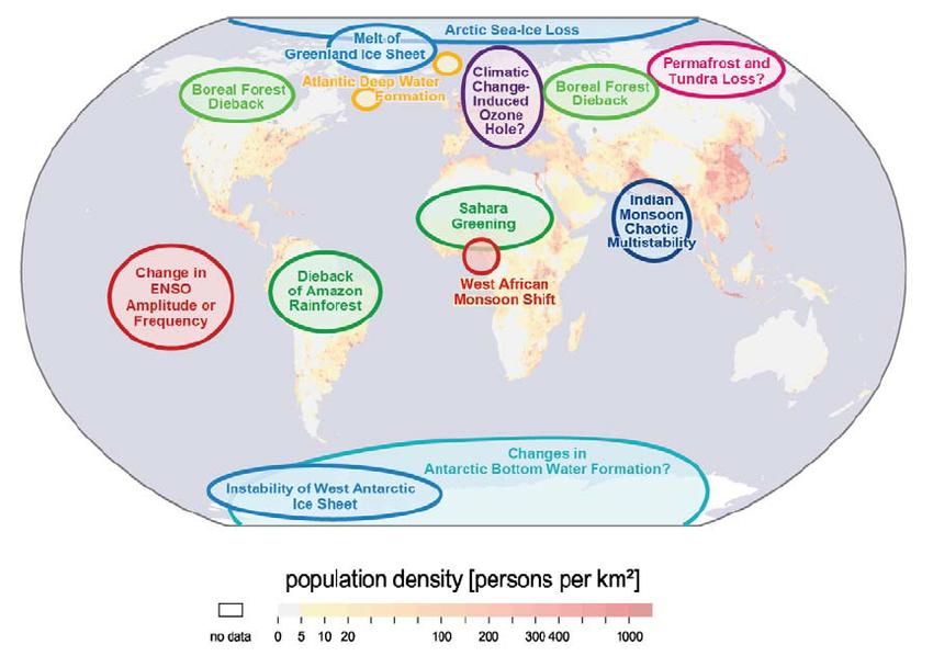 Les zones géographiques où un effet d'emballement peut avoir lieu du fait de la dégradation des ecosystèmes