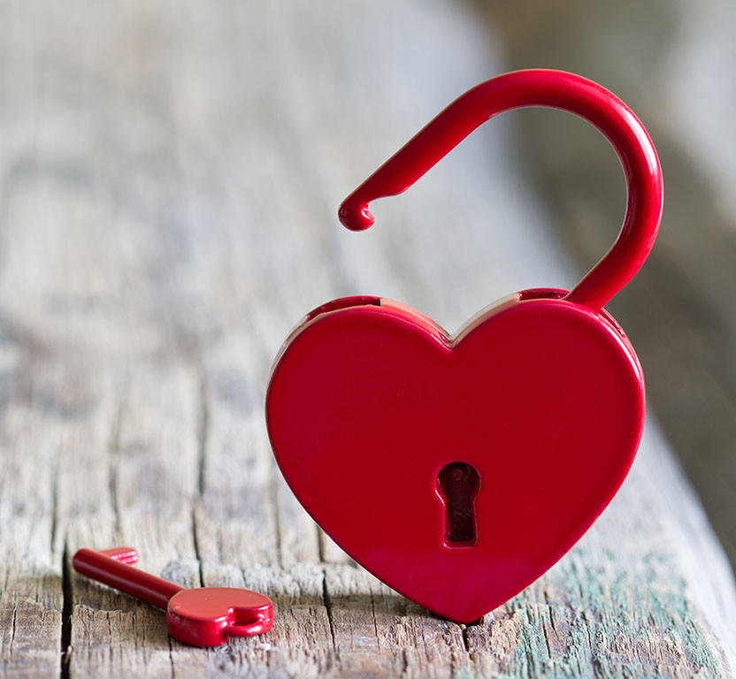 open heart-shaped lock