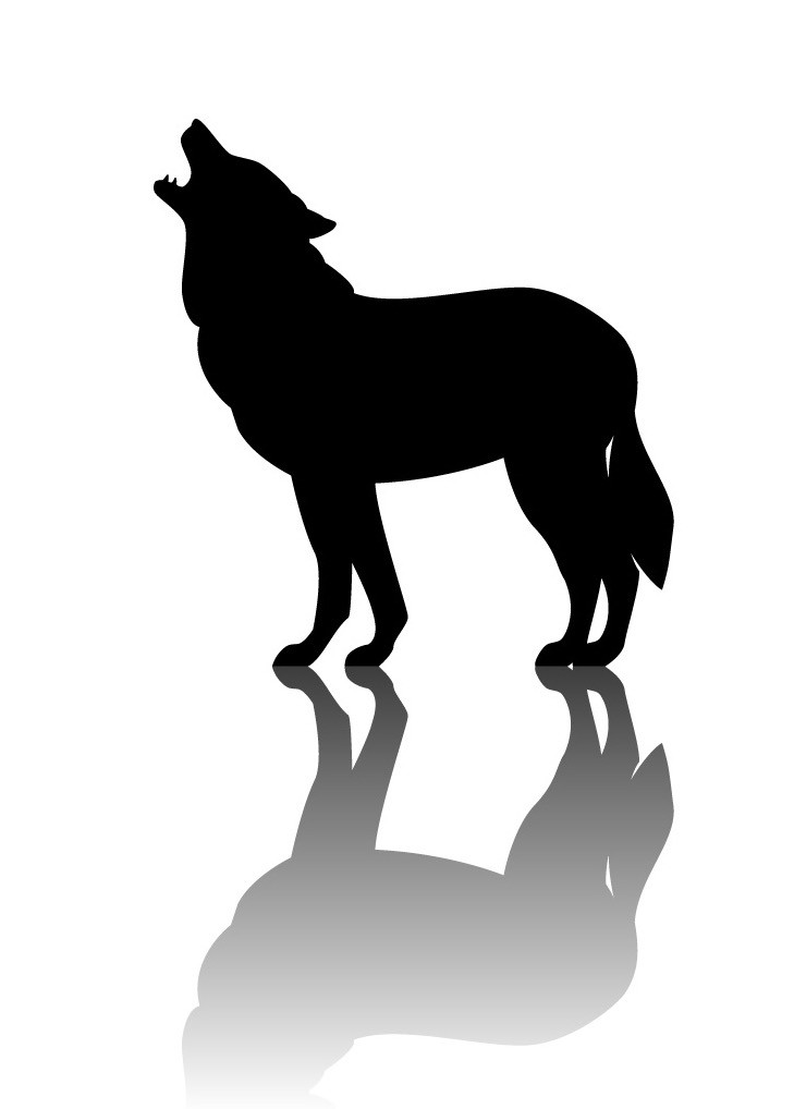 wolf silhouette with shadow graphic