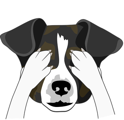 graphic of dog covering eyes