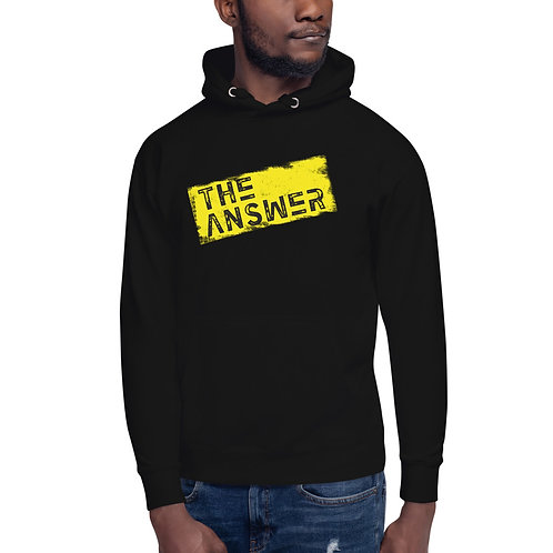 The Answer Yellow Grunge Unisex premium hoodie