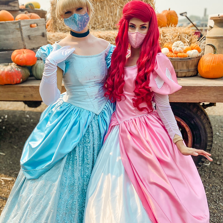 Disney Princess's Visit the Pumpkin Patch