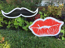 Mustache and Kissy Lips