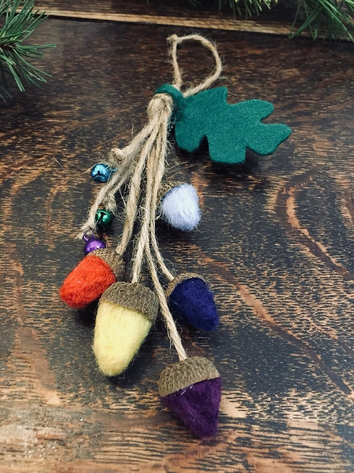 Rustic Lucky Felted Acorn Decorations
