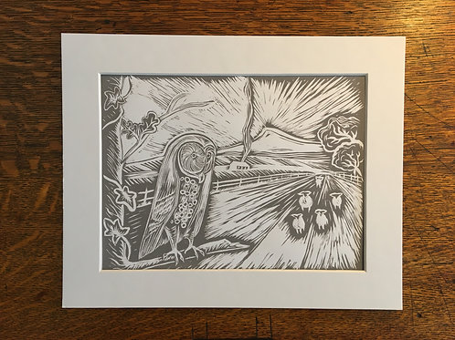 Owl of Roseberry Topping ... Original Open Edition Handcrafted Mounted Print