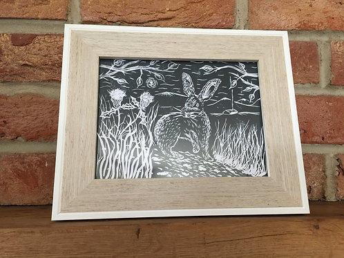 Hare By The Thistles... Original Open Edition Handcrafted Framed Print