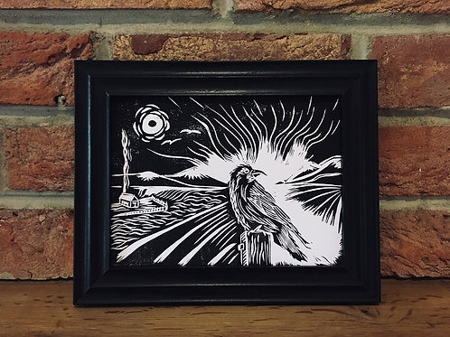 Lookout Post... Original Open Edition Framed Handcrafted Lino Print