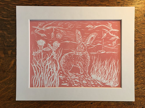 Hare By The Thistles... Original Open Edition Handcrafted Mounted Print