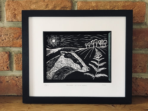 Badger By The Fern... Original Open Edition Handcrafted, Framed Lino Print