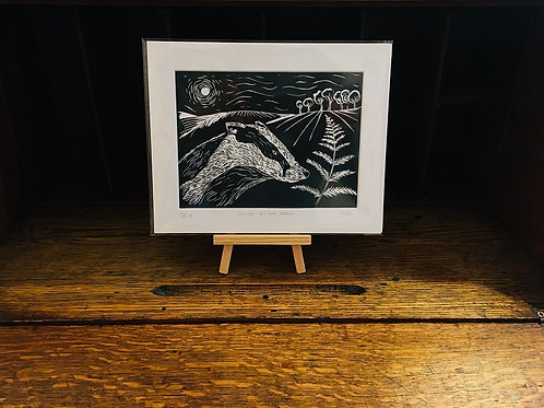 Badger By The Fern... Original Open Edition Handcrafted Lino Print