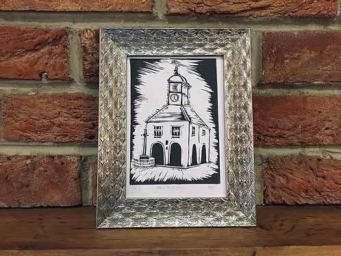 Yarm Town Hall... Original Open Edition Handcrafted, Framed Lino Print