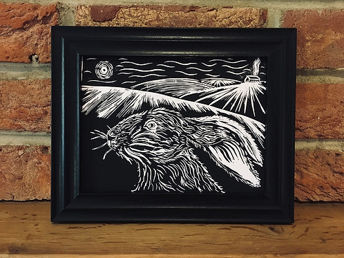 Hare On The Hill... Original Open Edition Handcrafted, Framed Lino Print