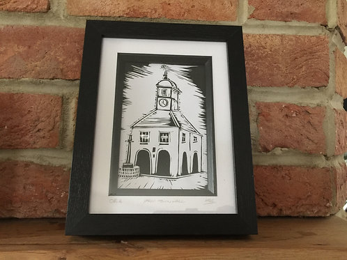 Framed Yarm Town Hall, Original Lino Cut Print