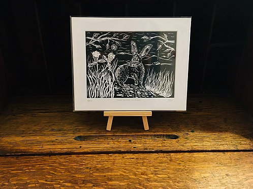 Hare By The Thistles... Original Open Edition Handcrafted Lino Print