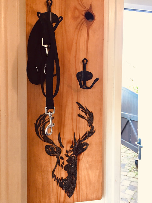 Reclaimed Wood Dog Lead Holder With Soldered Stag Detail