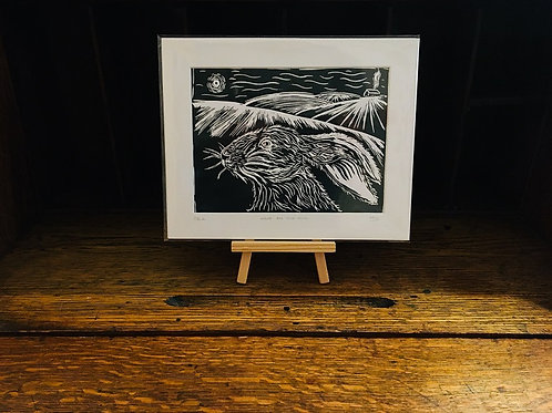 Hare On The Hill... Original Open Edition Handcrafted Lino Print