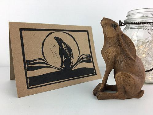 Gazing Hare & Lino Cut Card