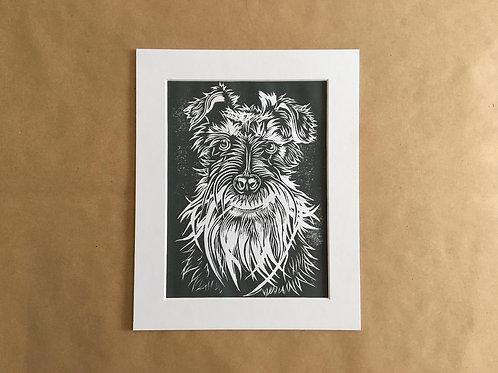 Schnauzer Lino Print (Grey)